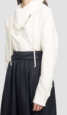 Textured Faille Shirt With Scarf Neck