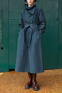 Textured Faille Shirt Dress With Scarf Neck