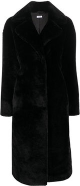 faux fur midi coat - Black