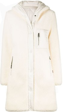 padded shearling coat - White