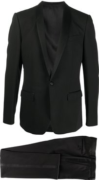 wool-silk mix single breasted suit with shawl lapels - Black
