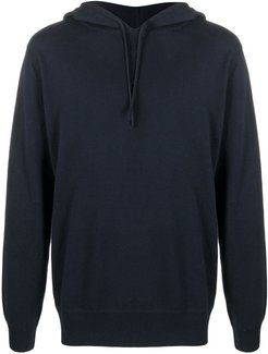 solid-color knitted hoodie - Blue