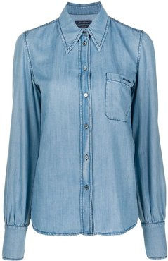 logo embroidered denim shirt - Blue