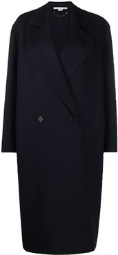 double-breasted oversized wool coat - Blue