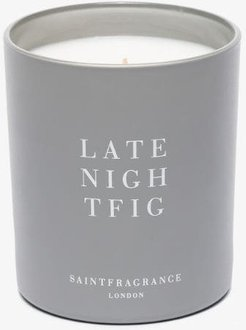grey and white late night fig candle