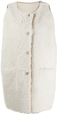 sleeveless lamb fur jacket - White