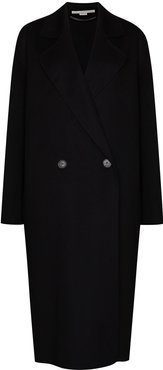 oversized double-breasted wool coat - Black