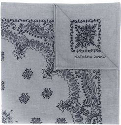 paisley embroidered scarf - Grey