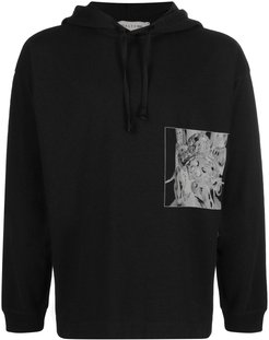 graphic print cotton hoodie - Black