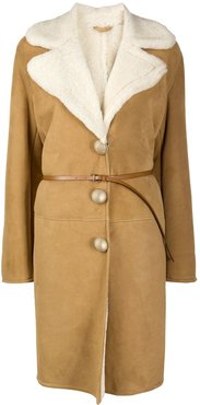 belted shearling coat - Brown