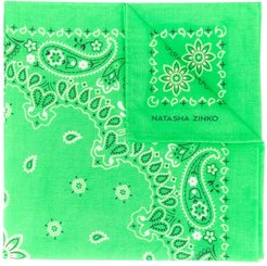 paisley embroidered scarf - Green