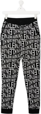 TEEN graphic-print track trousers - Black