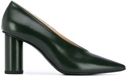 pointed-toe leather heels - Green