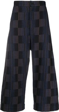 checkered wide-leg trousers - Blue