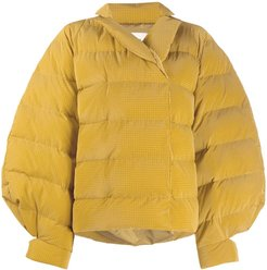 exaggerated-shoulder puffer jacket - Yellow