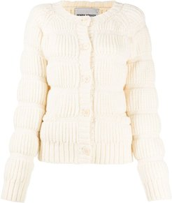 quilt-knit cardigan - White