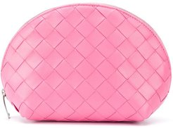 Intrecciato zipped make-up bag - PINK