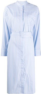 contrast stripe cotton shirt dress - Blue