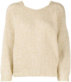 twist-detail tinsel jumper - Neutrals