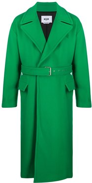 belted long coat - Green
