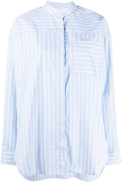 striped collarless shirt - Blue