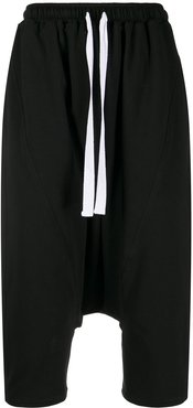 cropped dropped-crotch trousers - Black