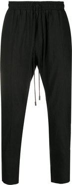 high-waisted tapered trousers - Black