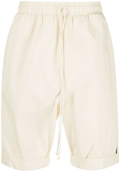 high-waisted track shorts - Neutrals