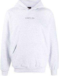embroidered-logo cotton hoodie - Grey