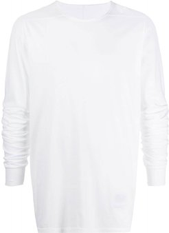 displaced-seam long sleeved T-shirt - White