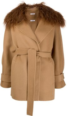 Leak shearling collar coat - Brown