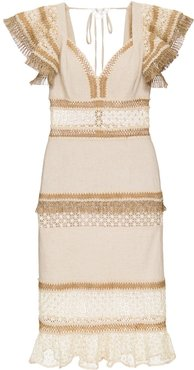 Lace and Fringe Fitted Midi Dress - Neutrals
