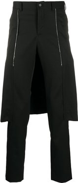 slim fit layered style trousers - Black