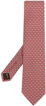 pointed silk tie - Red