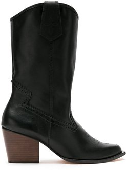 leather calf length boots - Black