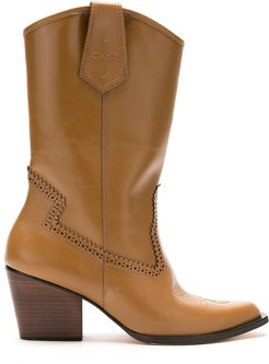 leather mid-calf length boots - Brown