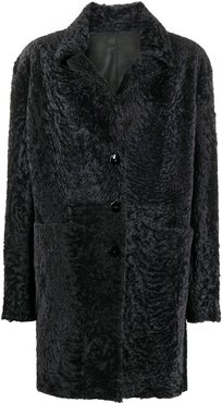 shearling single breasted coat - Blue