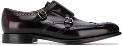 black leather buckled monk shoes - Red