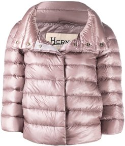 cropped quilted zipped jacket - PINK
