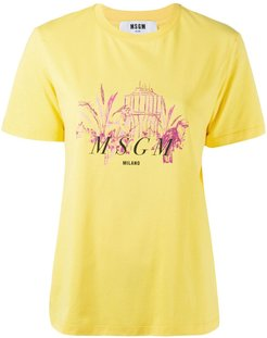 graphic-print cotton T-shirt - Yellow