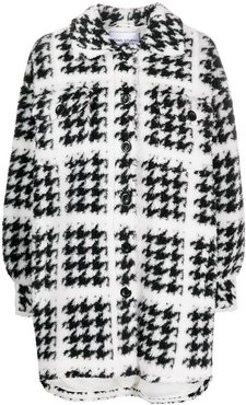 houndstooth button-up knitted coat - White
