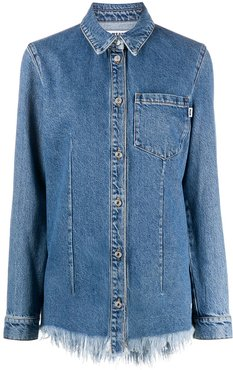 frayed edge denim shirt - Blue