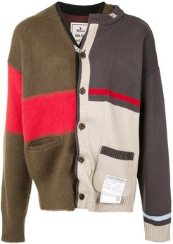 deconstructed combined knit cardigan - Multicolour