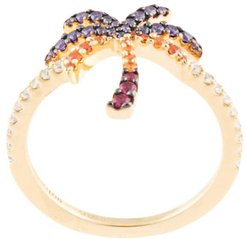 sterling silver palm tree ring - GOLD
