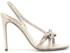 crystal embellished strappy bow sandals - White