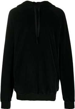 velvet hoodie with embroidery at rear - Black