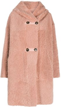 shearling hooded coat - PINK