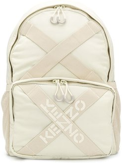 Taped logo backpack - Neutrals
