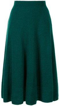 a-line pleated skirt - Green