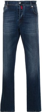 washed bootcut jeans - Blue